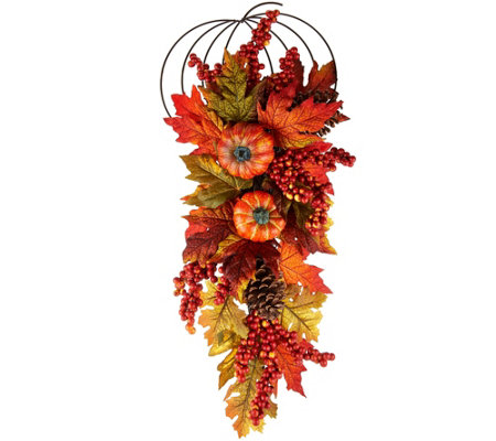 "26"" Leaves, Berry and Hydrangea Decorative Hanger"