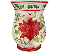Holiday Frosted Glass Vase with Micro Lights by Valerie - H209598