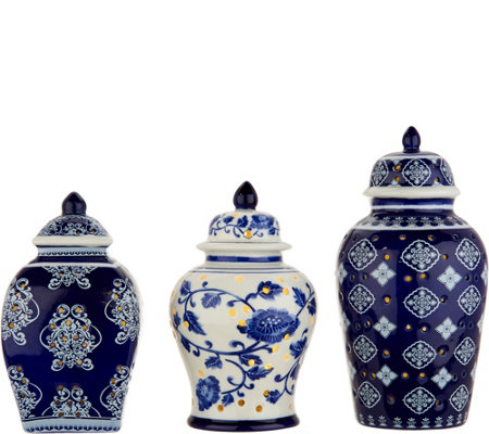 Set of 3 Illuminated Porcelain Mini Urns by Valerie