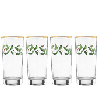 Lenox Holiday Set of 4 Highball Glasses - H284498