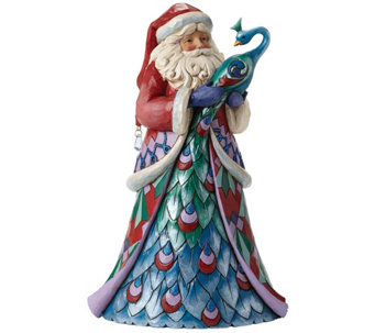 Jim Shore Winter Wonderland Santa with Peacock - H290198
