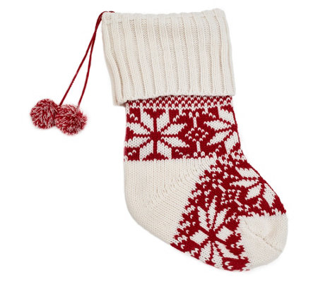 Berkshire Blanket Red/White Knit Stocking withPom-Poms