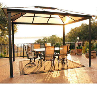 STC Madrid Gazebo with Vented UV Translucent Hard Top - H361598