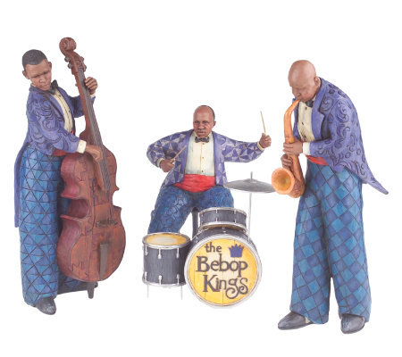 Jim Shore Heartwood Creek Sax,Bass & Drum 3pc. Jazz Band Figurine Set