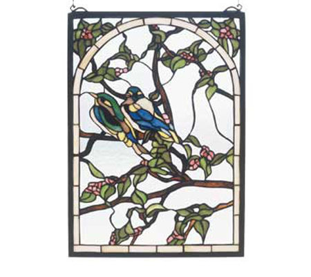 Tiffany Style Lovebirds Window Panel