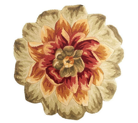 "Royal Palace 33"" x 33"" Grand Floral Die Cut Wool Rug"