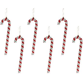 "Set of 6 13"" Candy Cane Ornaments by Valerie - H205299"