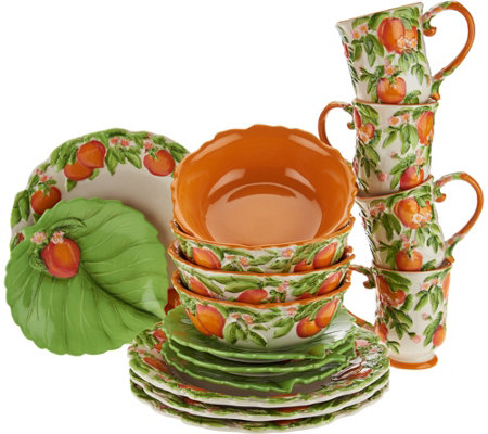 Temp-tations Figural Fruit 16 Piece Dinnerware Set