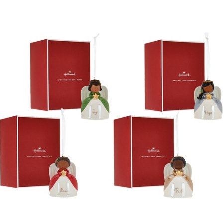 Hallmark Set of 4 Ceramic Angel Ornaments with Gift Boxes