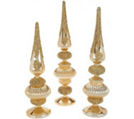 Set of 3 Jeweled Glass Finials by Valerie