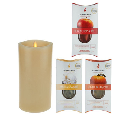 "Luminara 7"" Fragrance Candle with 3-pc. Cartridge Starter Pack"