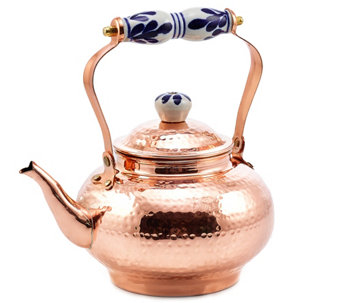 Old Dutch International 2-qt Solid Copper Hammered Tea Kettle - H288099