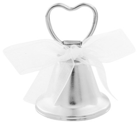 Silvertone Wedding Bell Place Card Holder
