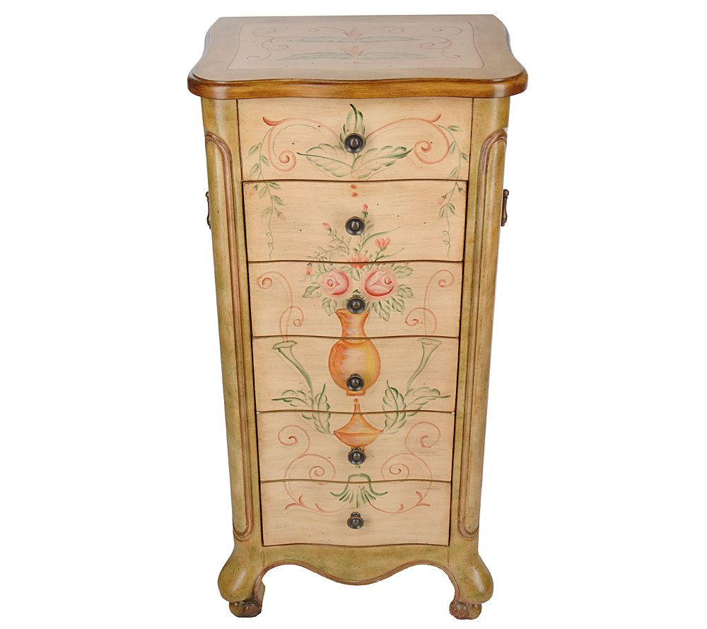 Handpainted Jewelry Armoire w AntiTarnish Lining LiftUp Mirror