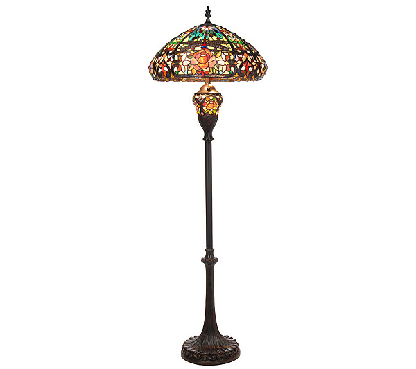 Tiffany style splendid garden floor lamp with lit base by j j peng page 1 qvc com