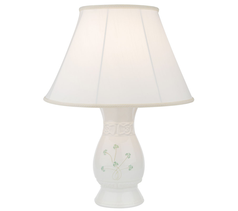 Belleek special edition tara shamrock lamp with shade page 1 qvc com