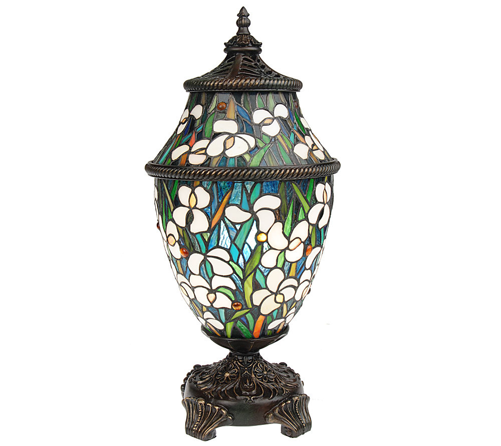 J j peng stained glass sojourn 21 urn shaped accent lamp page 1 qvc com