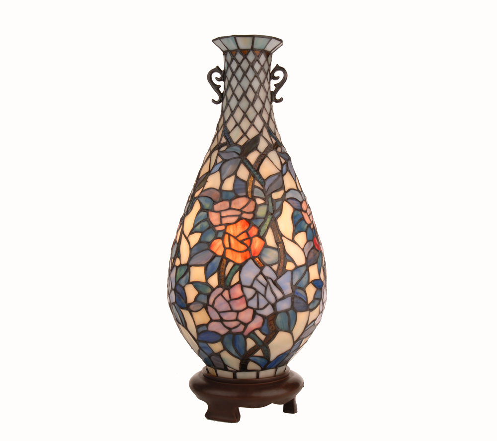 Limited edition tiffany style floral design vase accent lamp page 1 qvc com