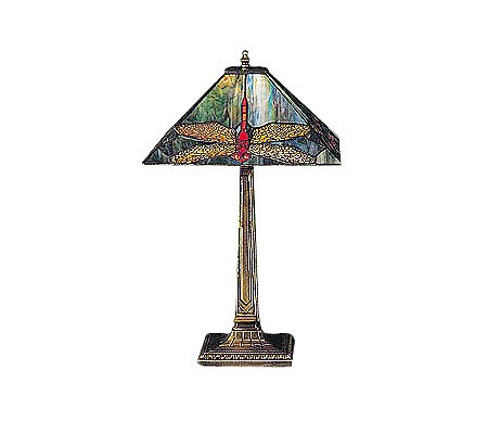 Tiffany style 21 1 2h dragonfly lamp page 1 qvc com