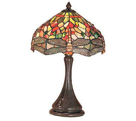 dragonfly style table lamp qvc lamps handcrafted tiffany wide