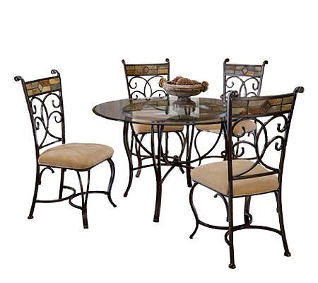 Hillsdale House Pompei Dining Table With 48D Glass Top QVC