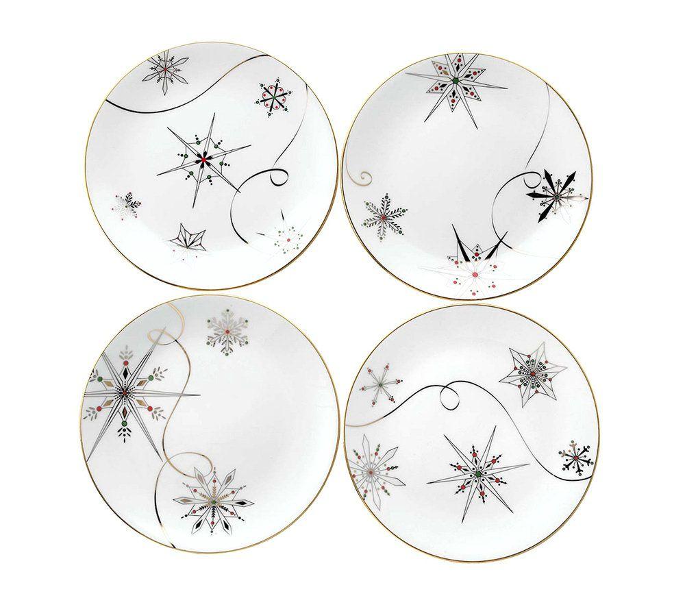sc 1 st  QVC.com & Lenox Merry \u0026 Bright Snowflake Dessert Plates -Set of 4 \u2014 QVC.com