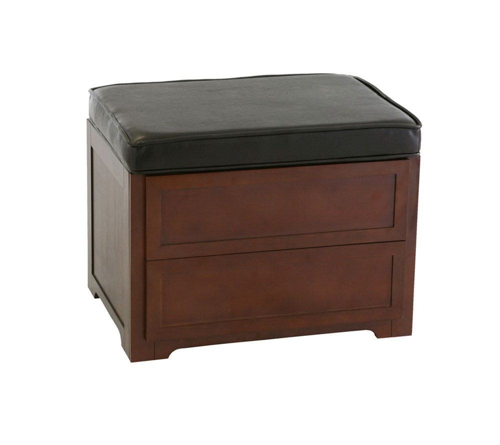 CDDVD Media Storage Ottoman in Faux Leather QVCcom
