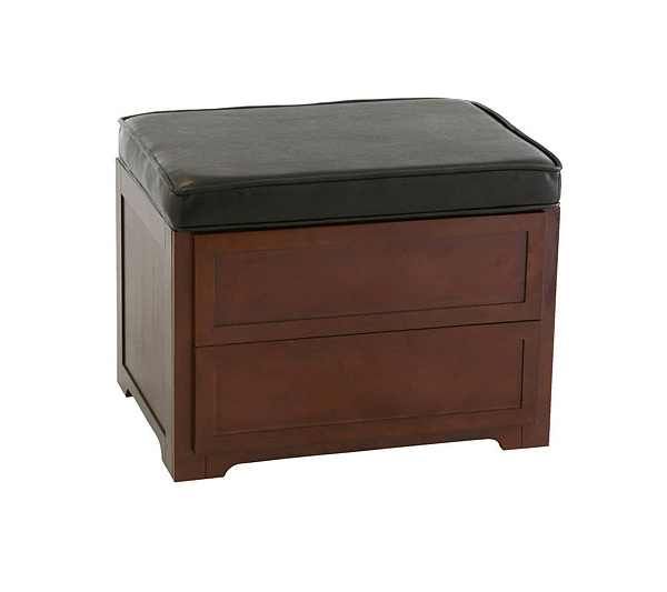 - CD/DVD Media Storage Ottoman In Faux Leather — QVC.com