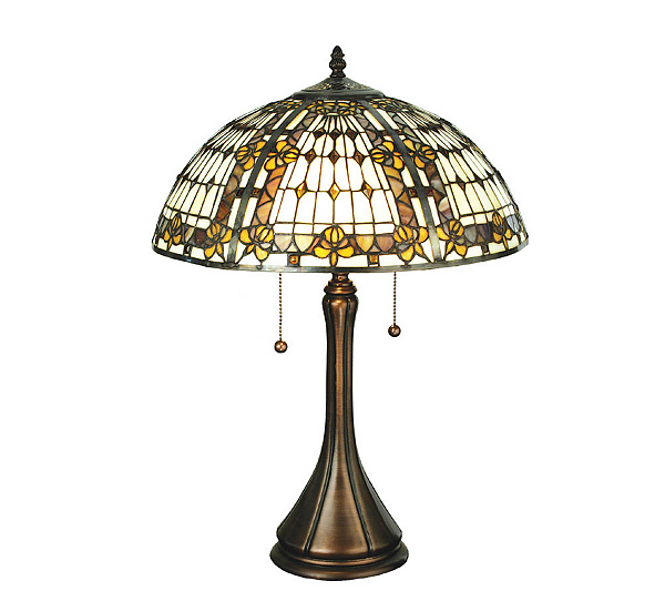 Tiffany style fleur de lis table lamp qvc mozeypictures Gallery