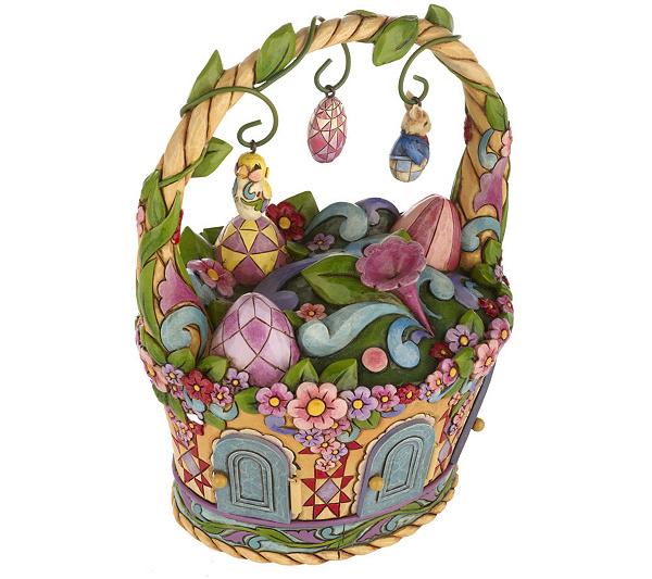 Jim shore heartwood creek easter basket centerpiece qvc negle Image collections