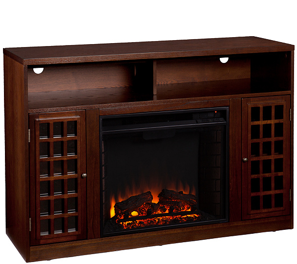 Bergen Espresso-Finish Media Console with Electric Fireplace - H171727 - Fireplaces €� Heating & Cooling €� For The Home €� QVC.com