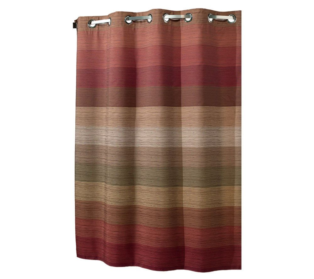 Red Hookless Shower Curtain Part - 23: Hookless Stratum Fabric Shower Curtain W/ Snap-In Liner - Page 1 U2014 QVC.com