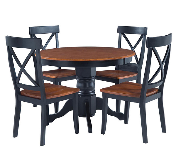 Home Styles 5 Piece Pedestal Black Dining Set
