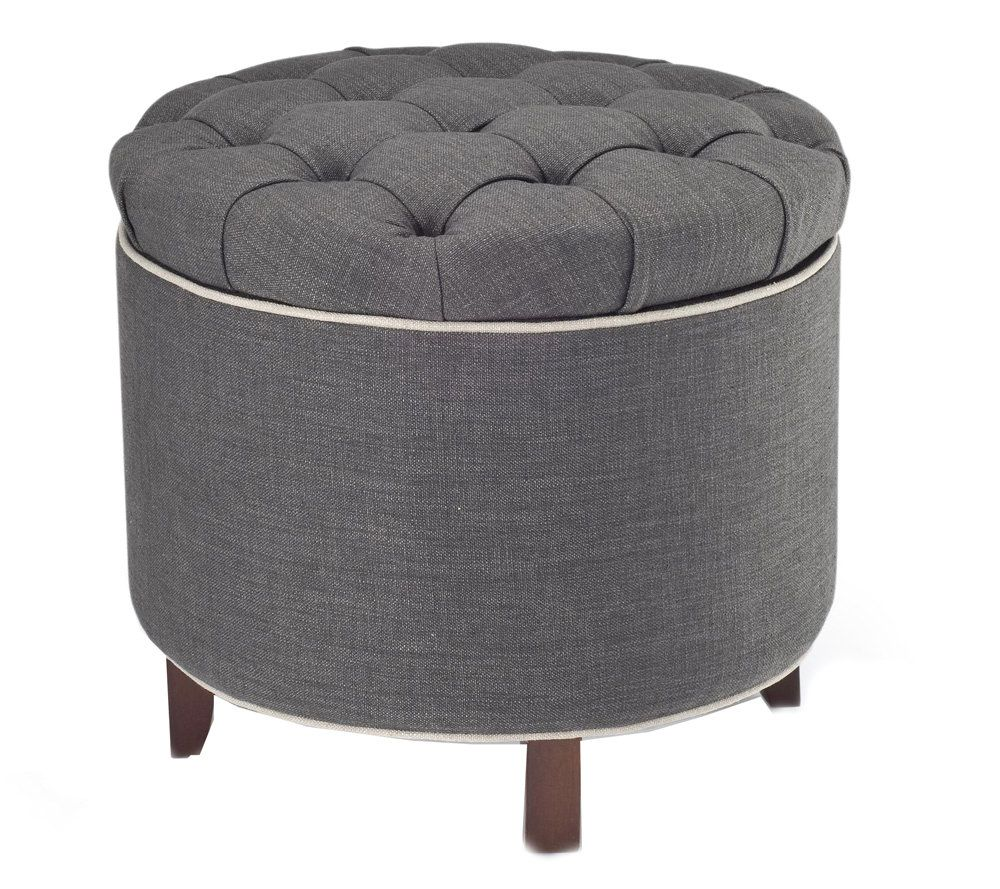 Tufted Fabric Storage Ottoman with Reversible Tray Top QVCcom