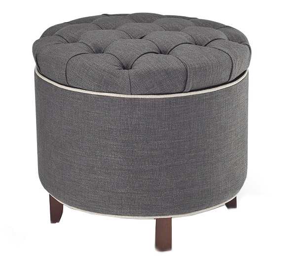 - Tufted Fabric Storage Ottoman With Reversible Tray Top — QVC.com