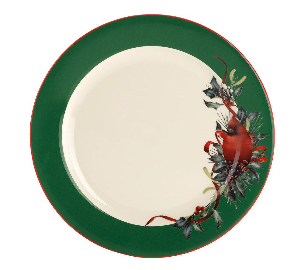 sc 1 st  QVC.com & Lenox Winter Greetings Green Dinner Plates S/4 \u2014 QVC.com