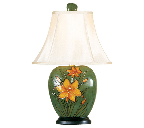 Green floral table lamp qvc com