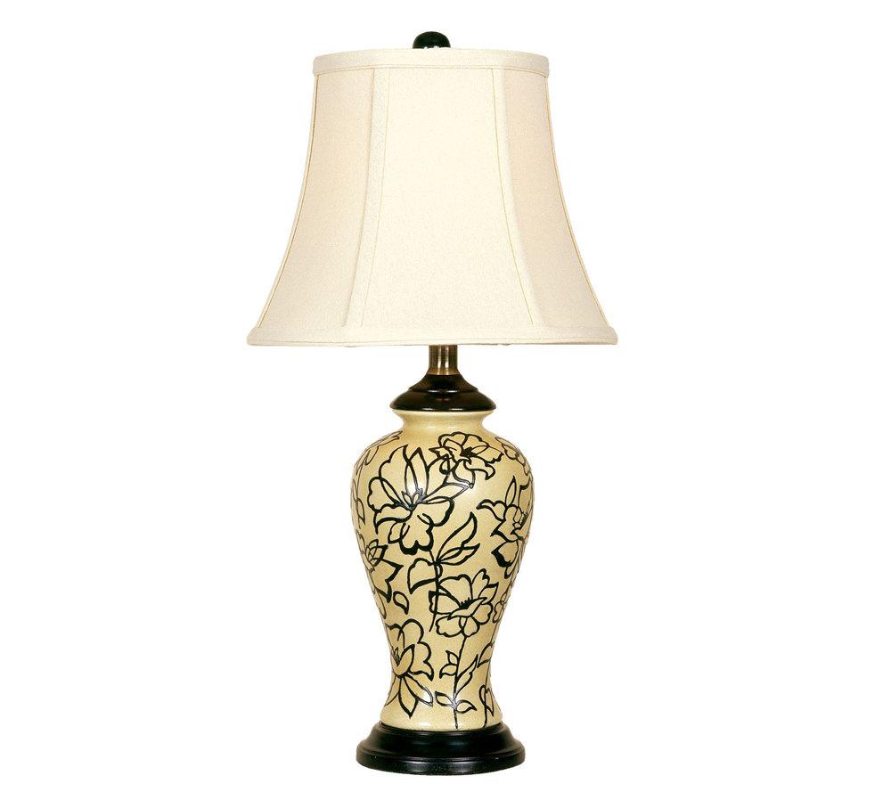 Vanilla cream black flower table lamp qvc com