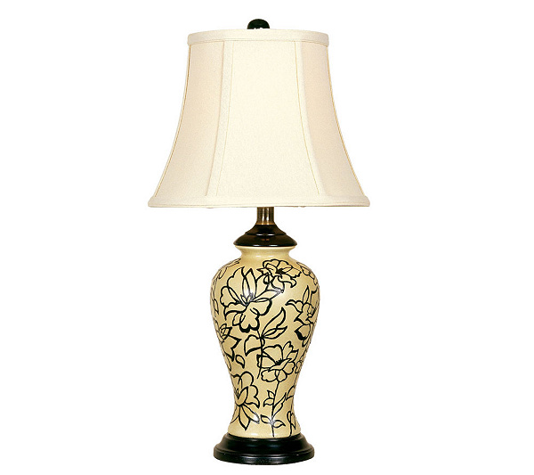 Vanilla cream black flower table lamp qvc com