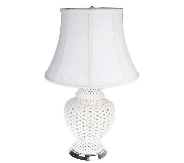 Bombay ceramic cut out lamp with shade page 1 qvc com