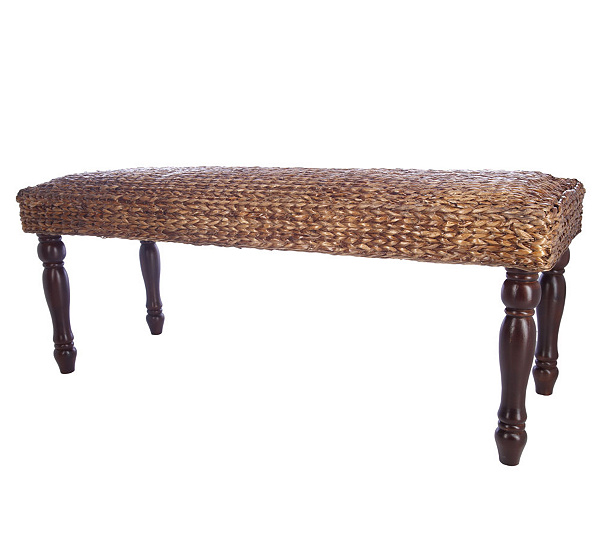 - Linda Dano 48-inch Seagrass Bench With Sculpted Wooden Legs — QVC.com