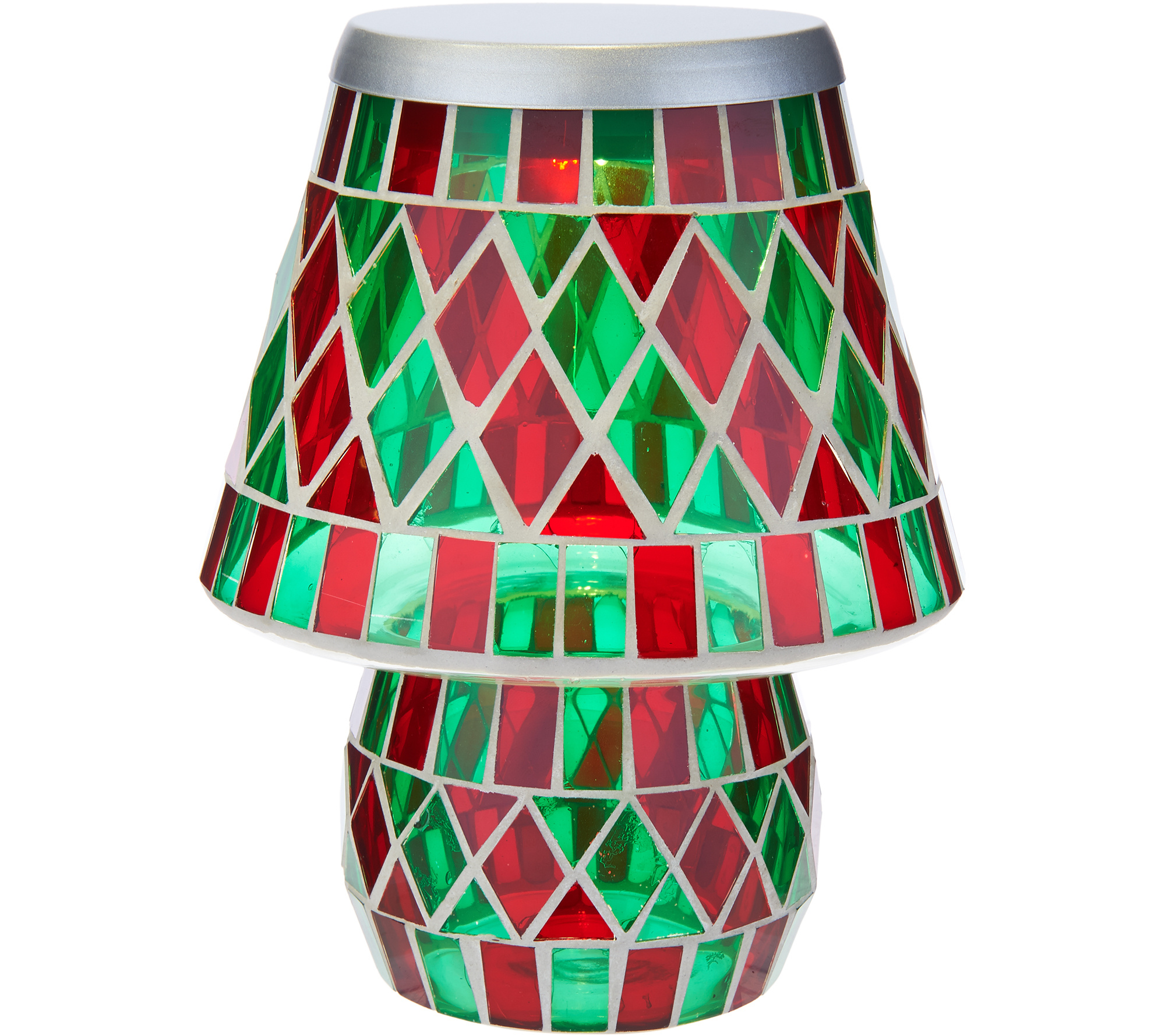 Glass tile diamond pattern battery operated lamp by valerie page 1 qvc com