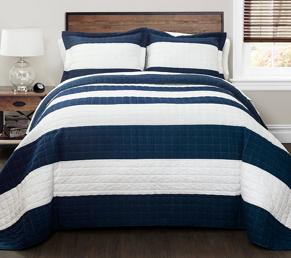 Navy/White Stripe 2-Piece Twin Quilt Set by Lush Decor — QVC.com : navy twin quilt - Adamdwight.com