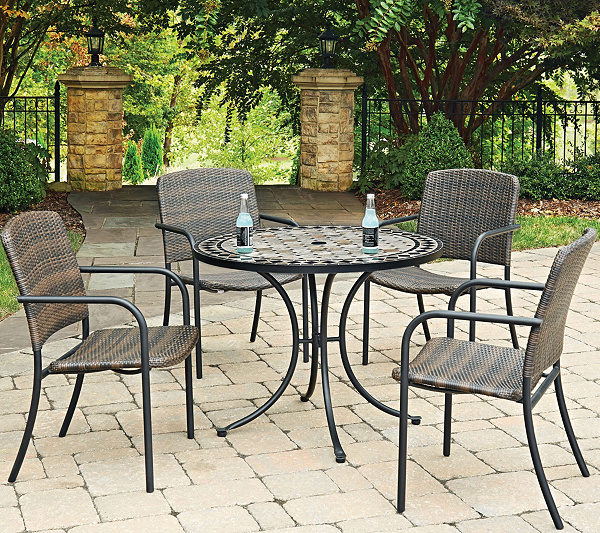 Home Styles 5 Piece 39 Round Outdoor Dining Table 4 Chairs QVC