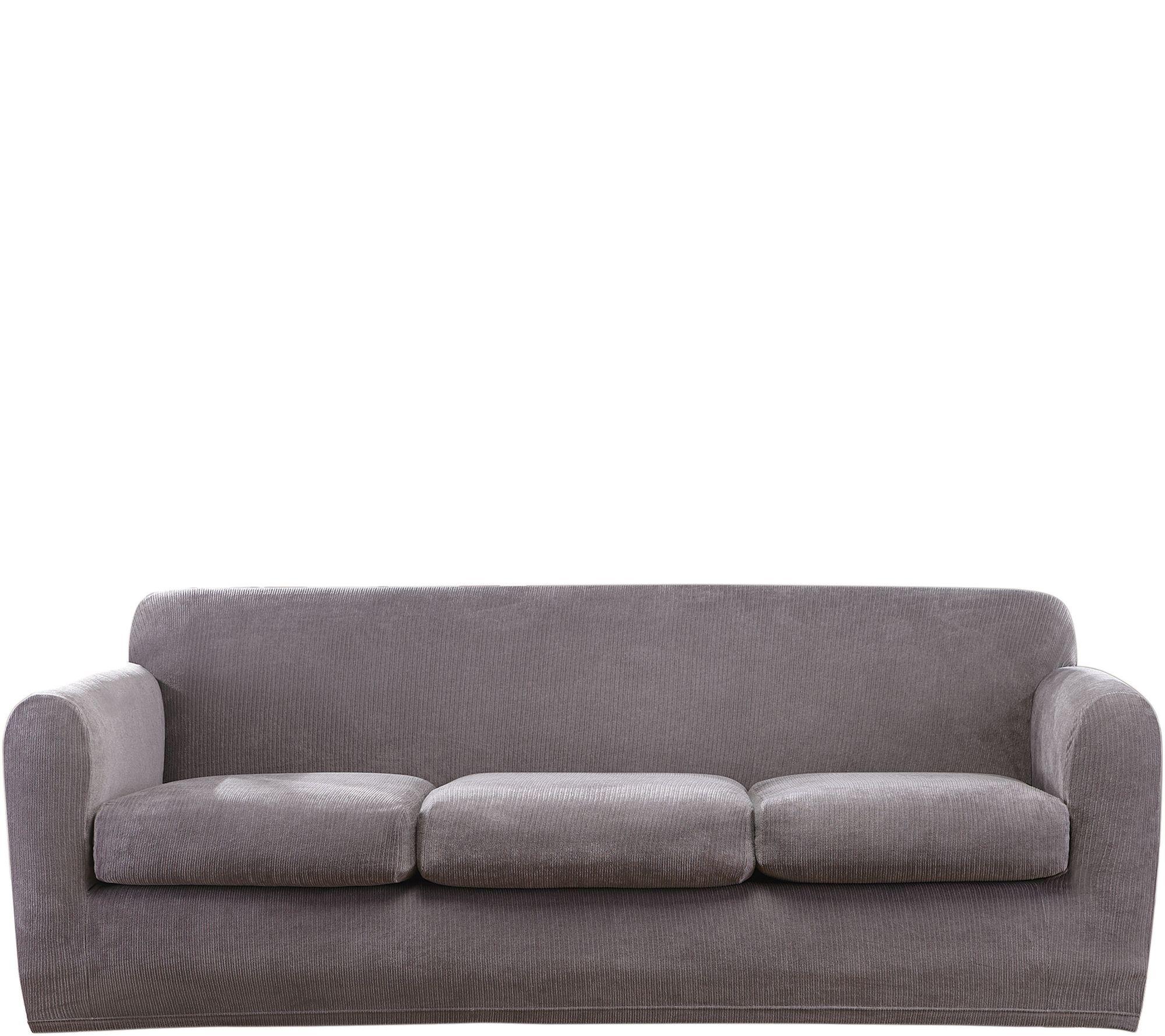 Sure Fit Stretch Chenille 3 Cushion Sofa Slipcover U2014 QVC.com