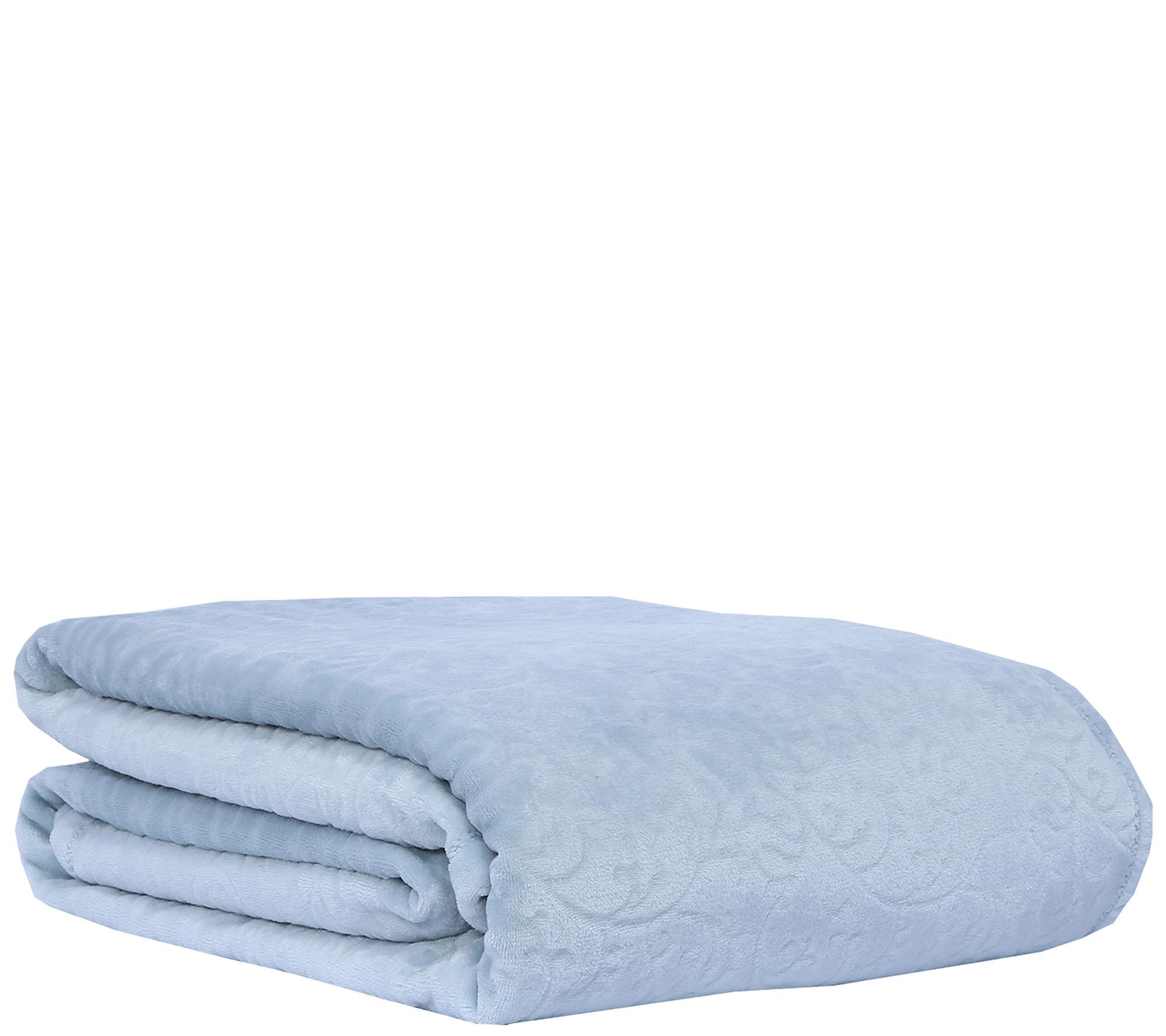 Berkshire Blanket VelvetLoft Scroll Plush Full/Queen Blanket — QVC.com