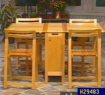 Collapsible Dining Table W/ 4 Chair Storage Compartment U2014 QVC.com