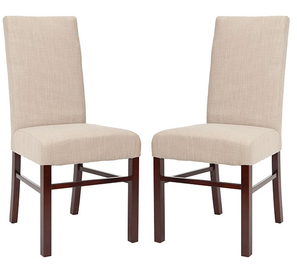 Set Of Two Plush Cotton Sand Color High Back Dining Chairs QVC