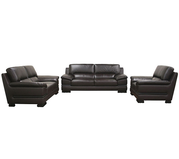 Riley Dark Brown Leather Sofa Love Seat And Chair Set QVC