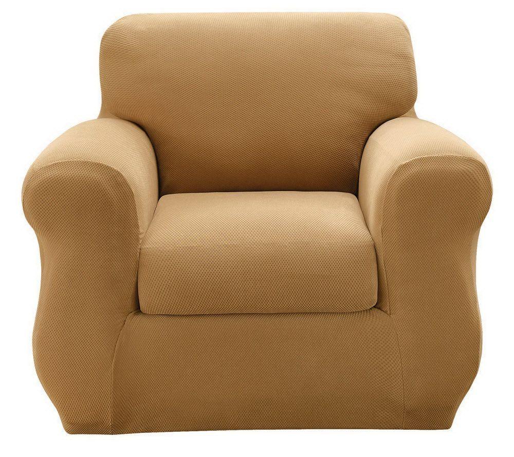 Sure Fit Stretch Pique 3 Piece Chair Slipcover   Page 1 U2014 QVC.com